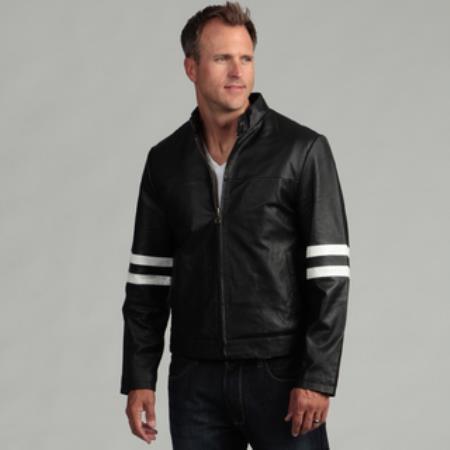 Men's Genuine Leather Moto Jacket Black