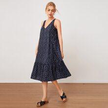 Kleid mit V Kragen, Raffungsaum und Bluemchen Muster