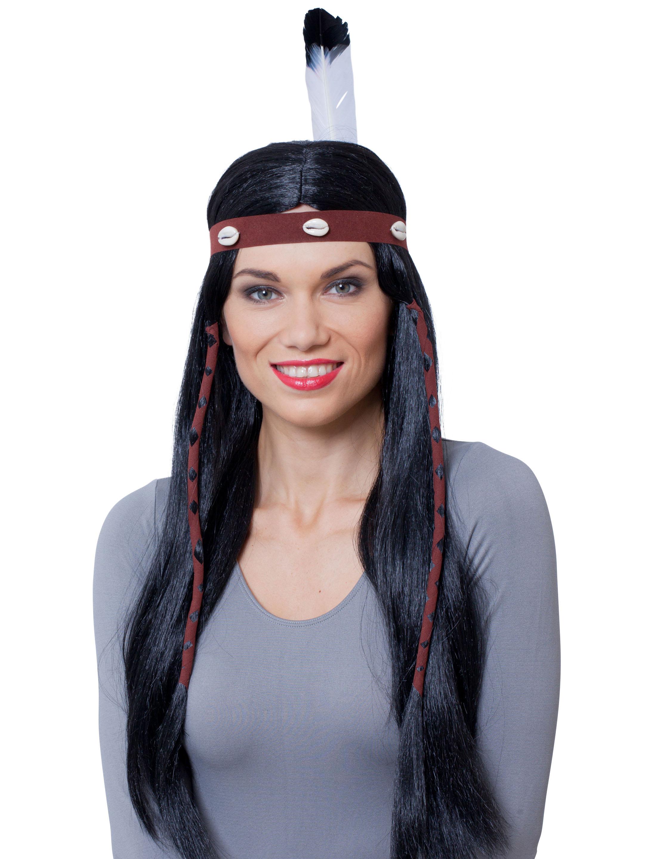 Kostuemzubehor Peruecke Indianer/in mit Haarband & Feder schwarz