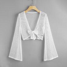 Bell Sleeve Knot Front Crochet Kimono