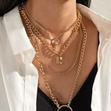 Set de collar de cadena a capas colgante con aro y llave y cerradura 2 piezas