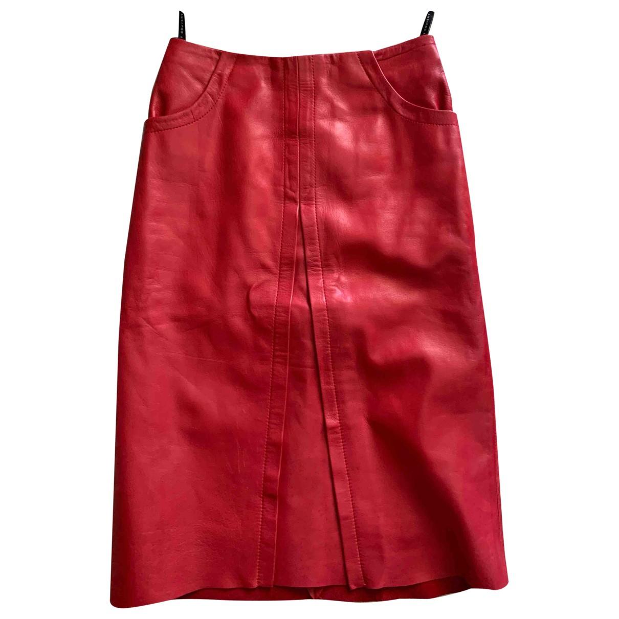 Ventcouvert - Jupe   pour femme en cuir - rouge