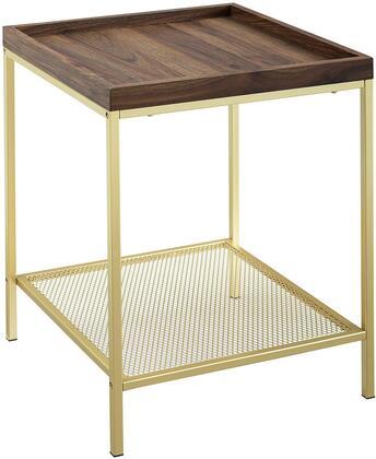 AF18EMSTDWG 18    Square Tray Side Table with Mesh Metal Shelf - Dark