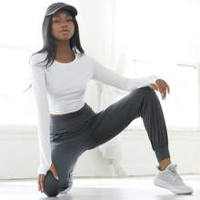 Elasthan Crop Yoga Top mit Daumenloch