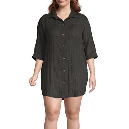 a.n.a Dress Swimsuit Cover-Up Plus, 1x , Black