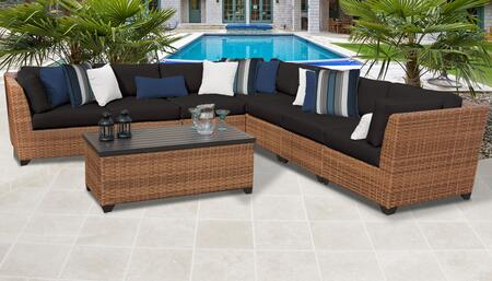 Laguna Collection LAGUNA-08a-BLACK 8-Piece Patio Set 08a with 3 Corner Chair   4 Armless Chair   1 Storage Coffee Table - Wheat and Black