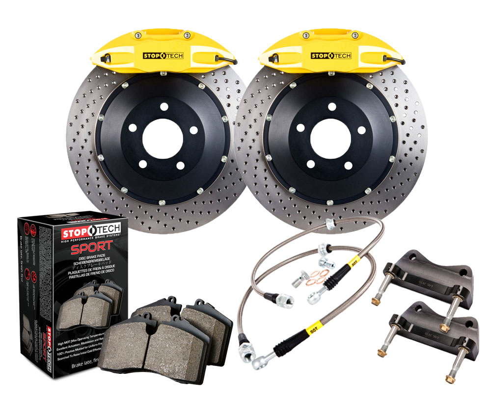 StopTech 83.197.0057.82 Big Brake Kit; Black Caliper; Slotted Two-Piece Rotor; Front Chevrolet Corvette Stingray Rear 2014-2015 6.2L V8