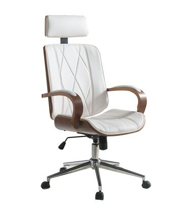BM191439 Faux Leather Office Chair Adjustable Height Swivel  White PU & Walnut
