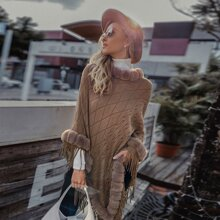 Contrast Faux Fur Cable Knit Poncho Sweater