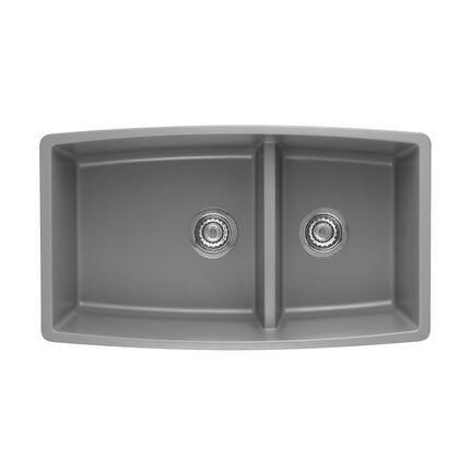 Performa 441309 Medium Double Bowl 1-3/4 Undermount Sink with Low Divide  in Metallic
