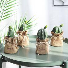 1pc Artificial Cactus Linen Potted Plant