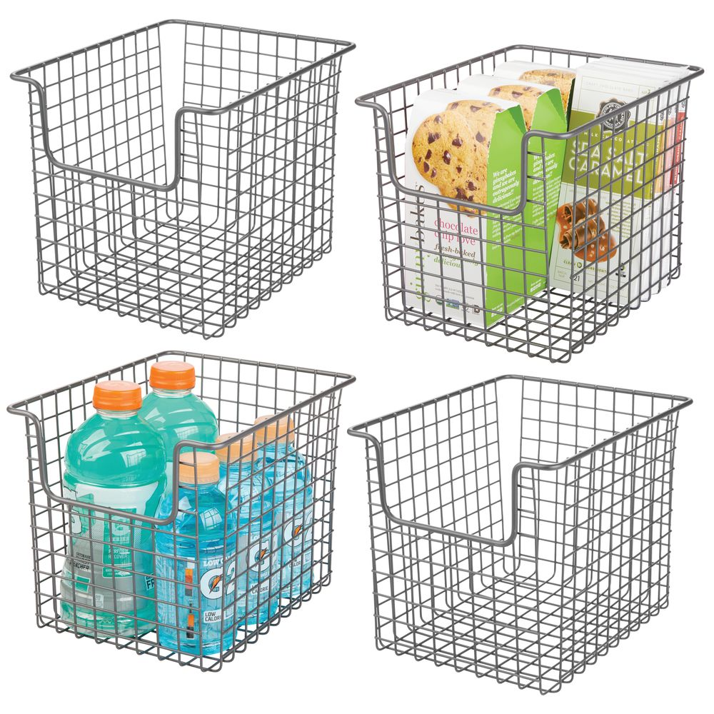 Wire Kitchen Pantry Food Storage Basket in Graphite Gray, 10 x 8 x 7.75, Set of 4, by mDesign