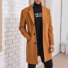 Guys Pocket Front Split Hem Overcoat