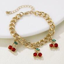 Rhinestone Cherry Chain Bracelet