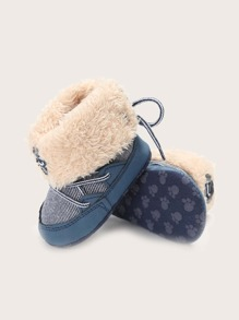 Baby Boy Tie Back Fur Lined Boots