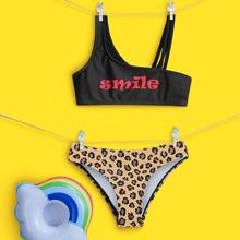 Bikini Badeanzug mit Leopard & Buchstaben Grafik