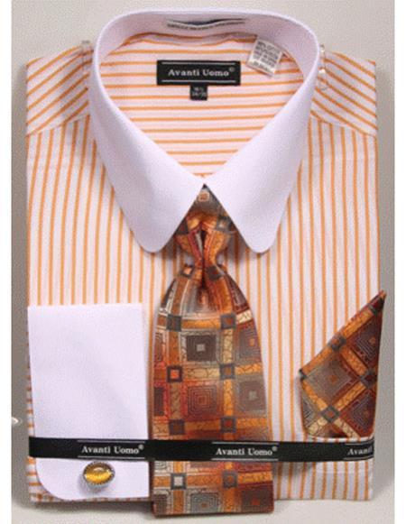 Mens white Collared French Cuffed Mustard ShirtTie/Hanky/Cufflink Set