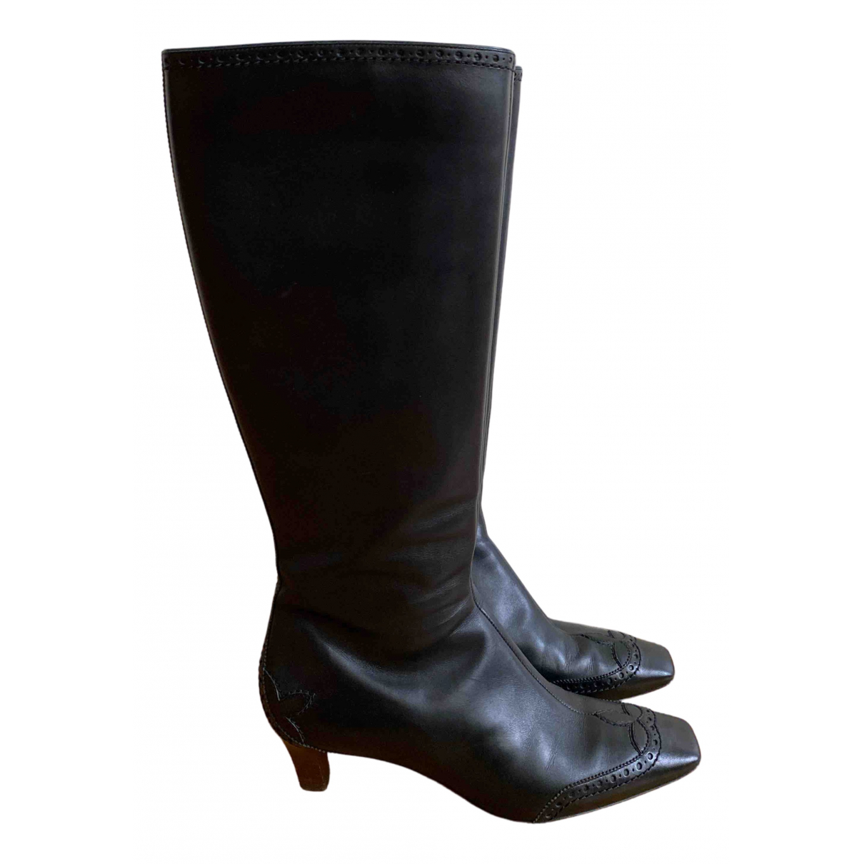 Louis Vuitton N Black Leather Boots for Women 38.5 EU