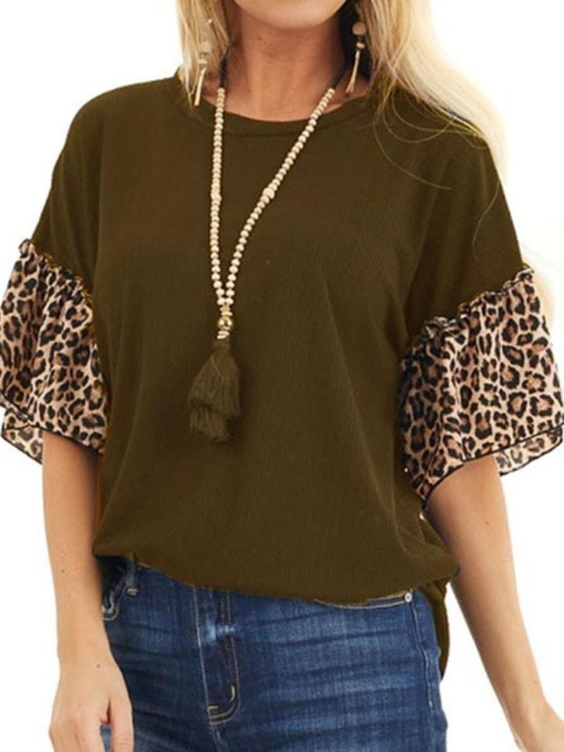 Ericdress Leopard Round Neck Half Sleeve Loose Vintage T-Shirt