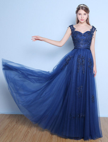 Milanoo Prom Dresses Long Dark Navy Lace Beading Tulle Sash Floor Length Formal Evening Dress
