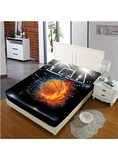 Basketball in Water And Fire Reactive Printing 1-Piece Polyester Bed Cover / Mattress Cover