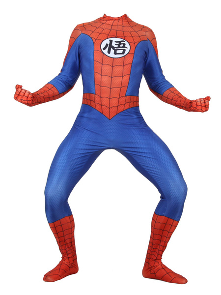 Milanoo Marvel Comics Spider Man Cosplay Dragon Ball Print Red Film Lycra Spandex Jumpsuit Leotard Marvel Comics
