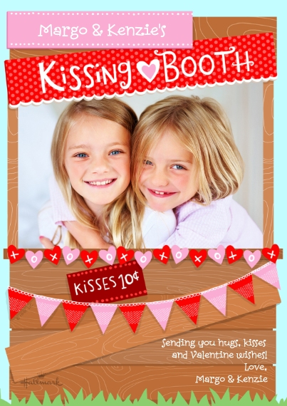 Valentine's Day Cards 5x7 Cards, Premium Cardstock 120lb with Elegant Corners, Card & Stationery -Kissing Booth