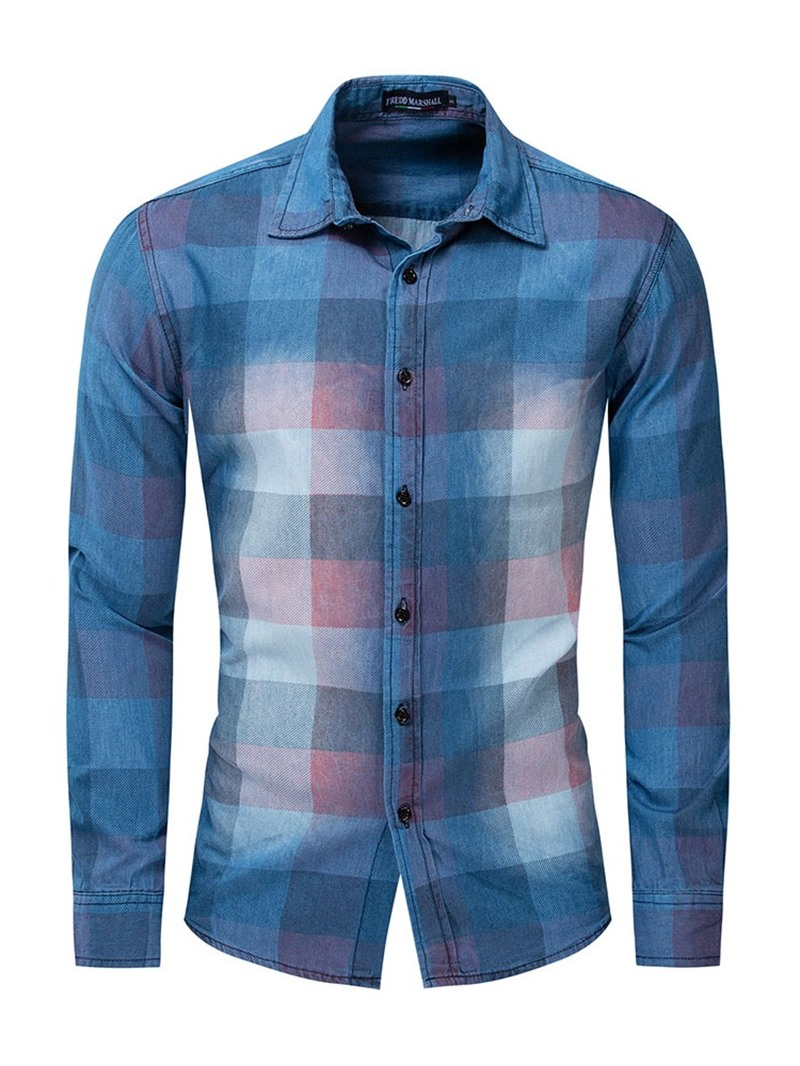 Ericdress Button Lapel Mens Single-Breasted Slim Shirt