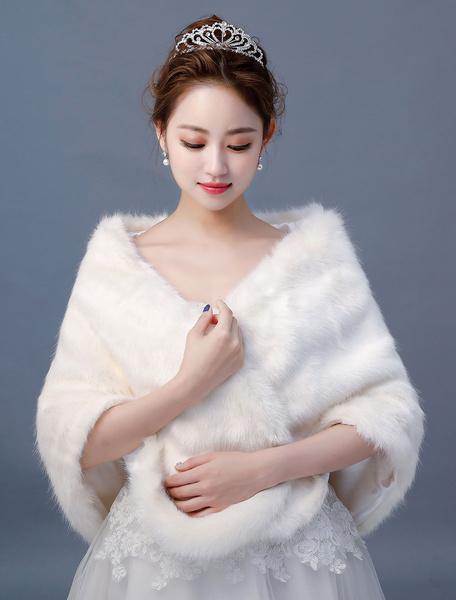 Milanoo Abrigo de novia de piel sintetica Estampado de marfil Abrigo de novia de invierno Encubrir