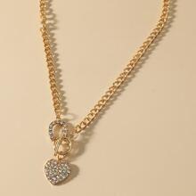 Halskette mit Strass und Herzen Dekor