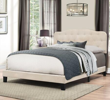 Nicole Collection 2010-502 Queen Size Bed with Headboard  Footboard  Rails  Fabric Upholstery  Button Tufting and Low Profile Footboard in