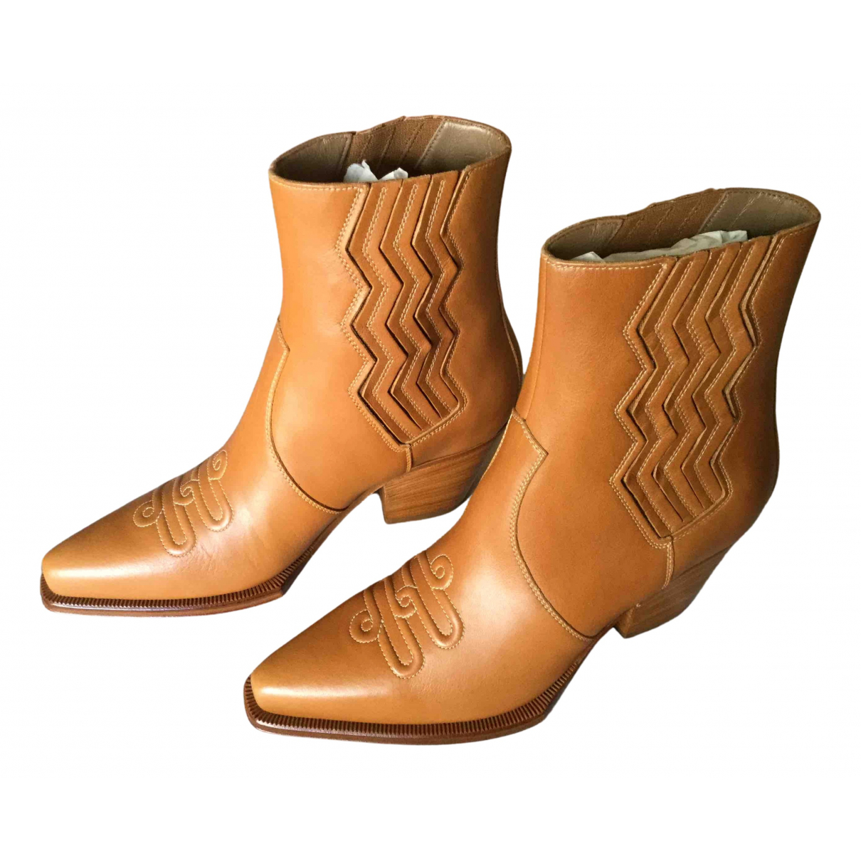 Hermès N Camel Leather Ankle boots for Women 37 EU
