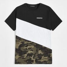 Men Camo Panel Letter Graphic Colorblock Tee