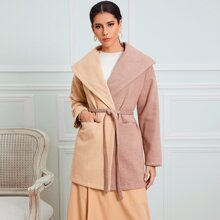 Two Tone Pocket Front Belted Overcoat