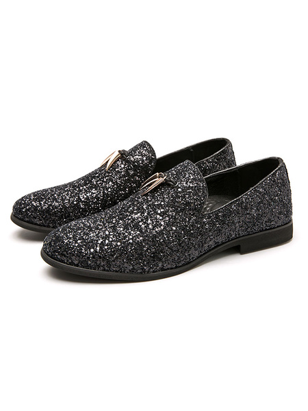Milanoo Zapatos holgados para hombre Lentejuelas sin cordones Zapatos de vestir de cuero PU con punta redonda negra