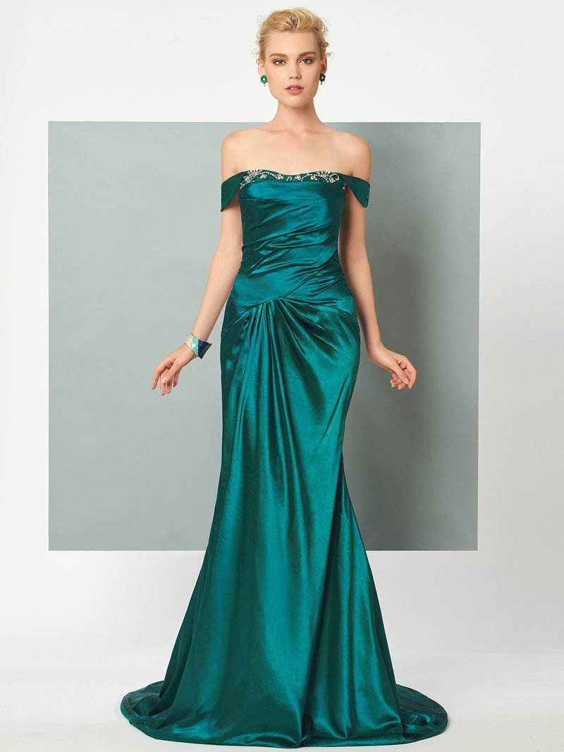 Ericdress Off The Shoulder Pleats Lace Back Sweep Train Mermaid Evening Dress
