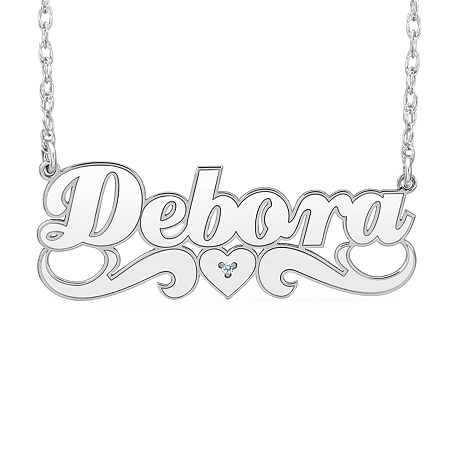 New White Diamond Accent Name Necklaces, One Size , No Color Family