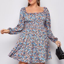 Plus Ditsy Floral Shirred Waist Lantern Sleeve Dress