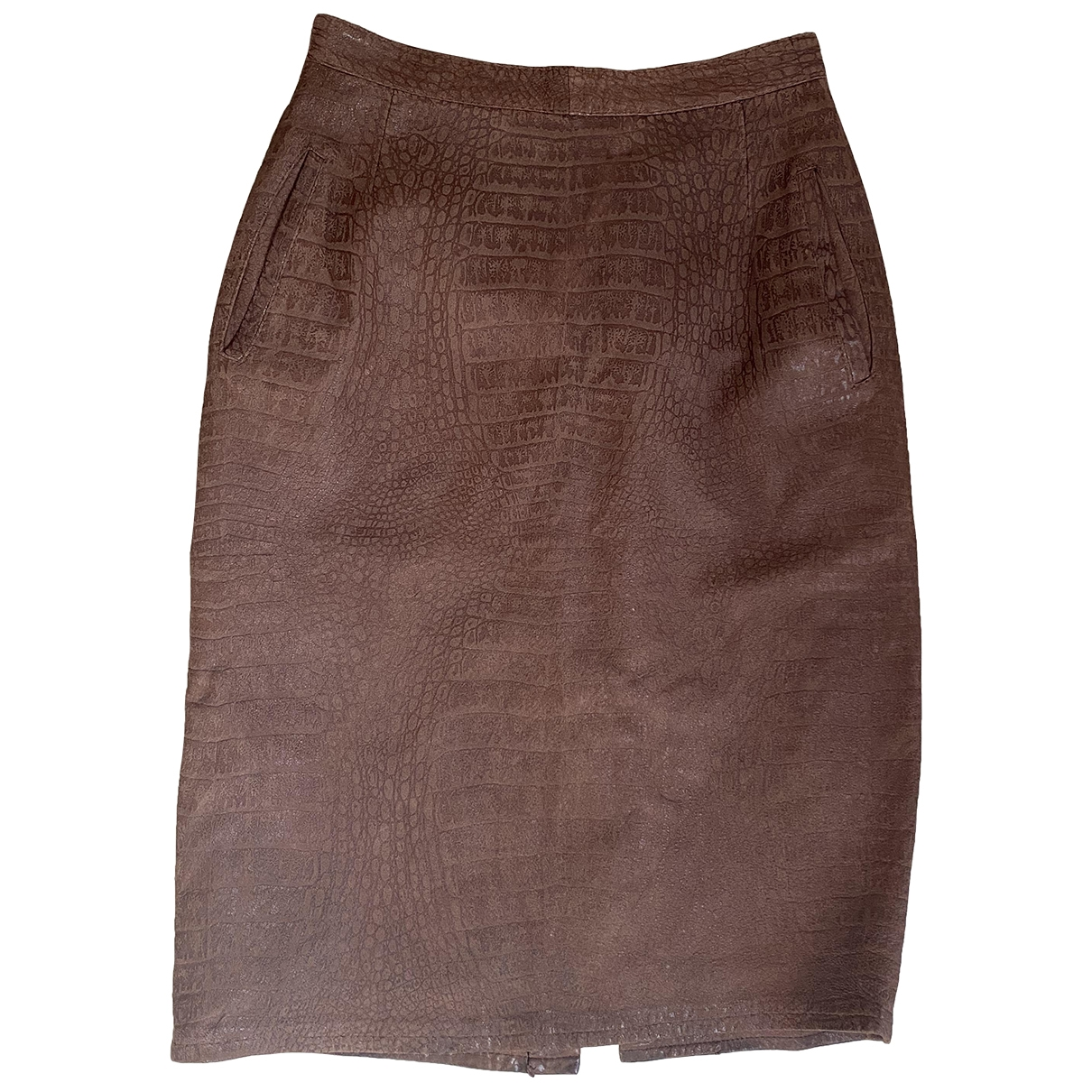 Non Signé / Unsigned \N Brown Leather skirt for Women S International