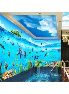Dolphins and Fishes in the Sea 3D Waterproof Ceiling/ Wall Murals