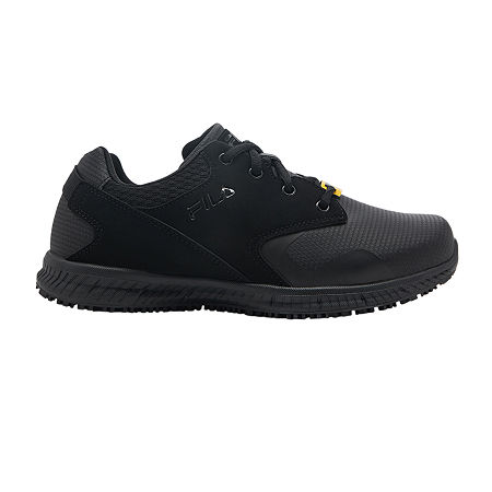 Fila Memory Layers Slip Resistant Womens Sneakers Wide Width, 6 1/2 Wide, Black