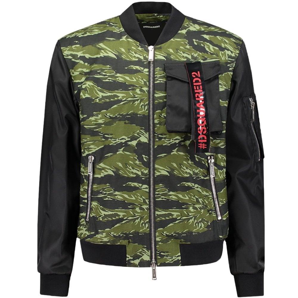 Dsquared2 Camouflage Bomber Jacket Black Colour: BLACK, Size: LARGE