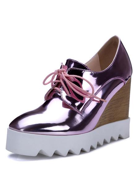 Milanoo Zapatos de cordones de mujer con tacon de cuña Oxfords Casual con punta cuadrada