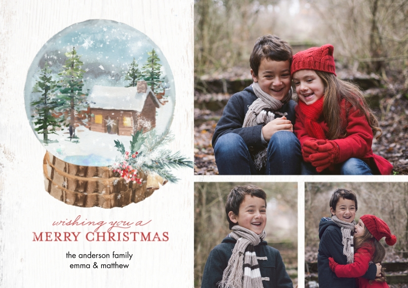 Christmas Photo Cards Flat Glossy Photo Paper Cards with Envelopes, 5x7, Card & Stationery -Christmas Winter Snowglobe by Tumbalina