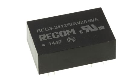 Recom REC3 3W Isolated DC-DC Converter Through Hole, Voltage in 9 → 36 V dc, Voltage out 12V dc Medical Approved