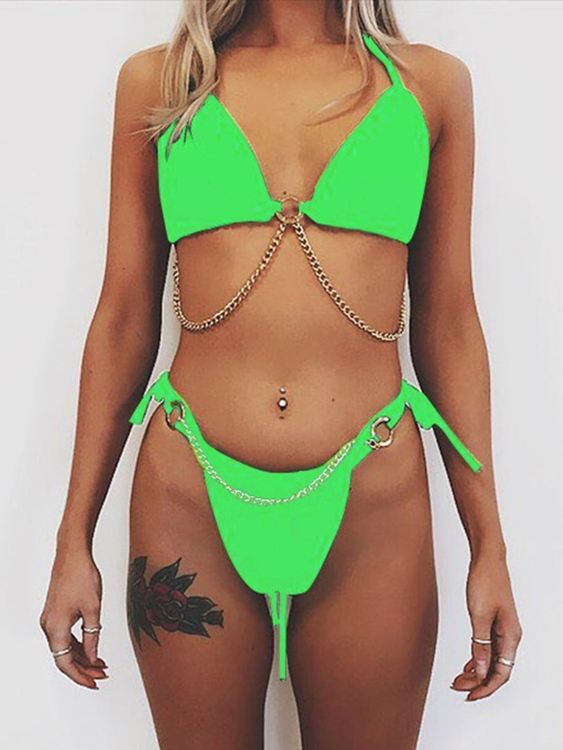 Ericdress Patchwork Lace-Up Micro Swimsuit