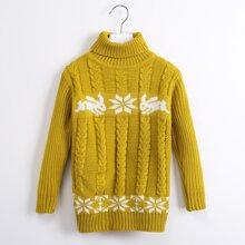 Strick Pullover mit Schneeflocken Muster