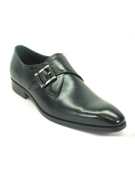 Men's Carrucci Fashionable Black Monk Strap Buckle Leather Loafer