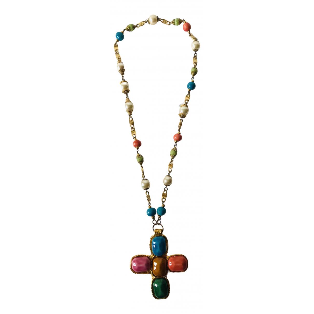 Non Signe / Unsigned Croix Halskette in  Rosa Keramik