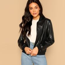 Zip Up Faux Leather Bomber Jacket